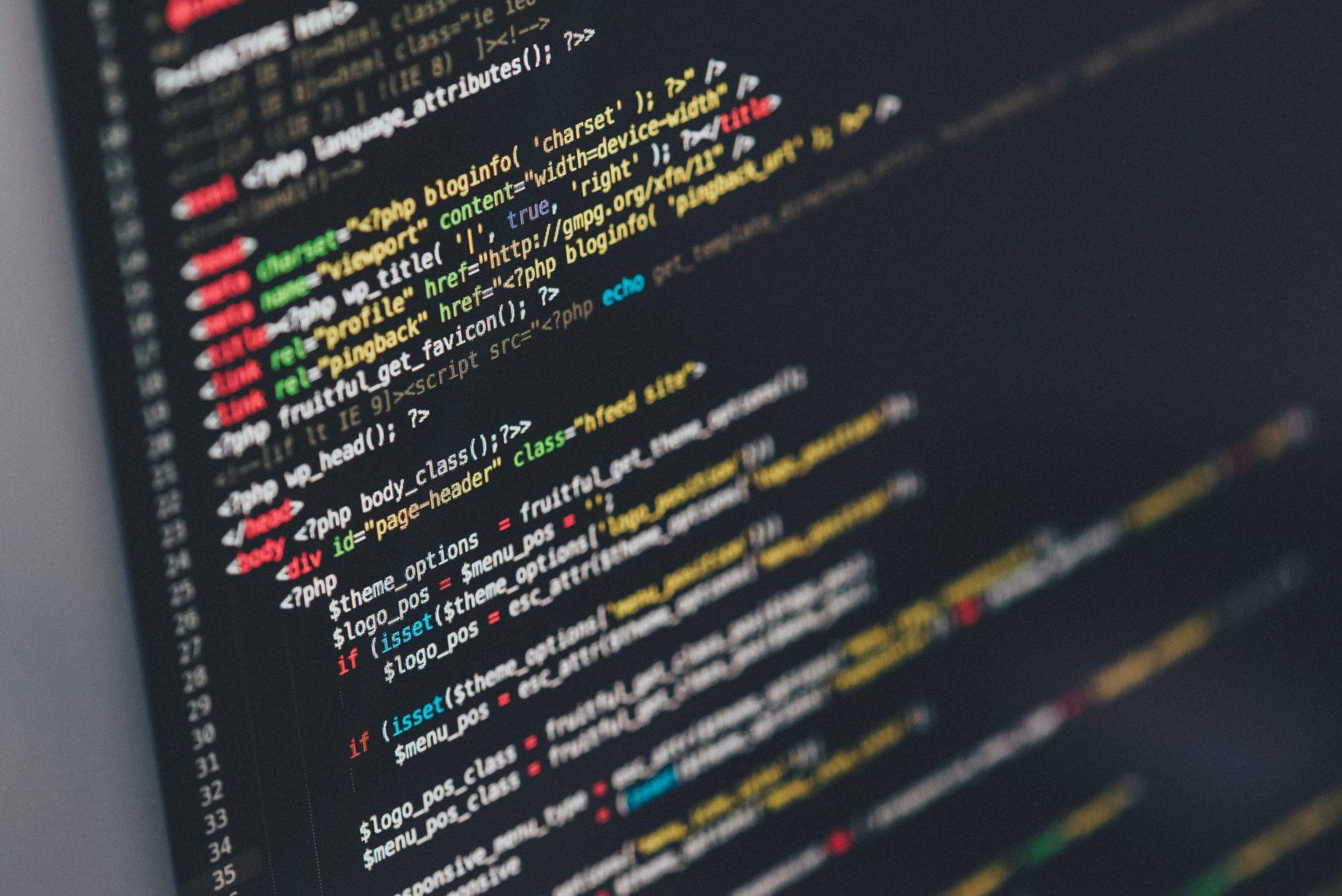 close-up of web development coding screen