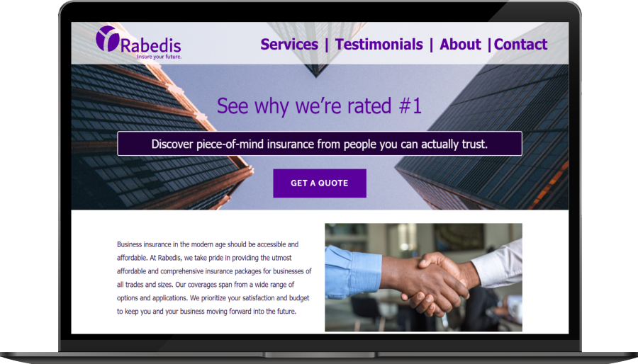 Small slide of an insurance company's professional website